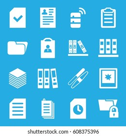 File icons set. set of 16 file filled icons such as sawing, resume, paper, binder, document, clipboard, file, photo, server, folder