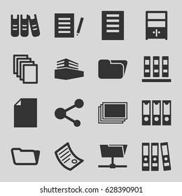 File icons set. set of 16 file filled icons such as photos, paper, folder, share, documents box, binder, cupboard