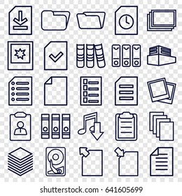 File icons set. set of 25 file outline icons such as photos, document, binder, paper, folder, clipboard, documents box, file, photo, hard disc, download document, eating mouth