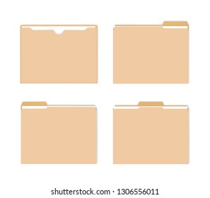 File jackets with various tabs, vector mockup set. Flat document envelope with paper sheets inside, mock-up set.