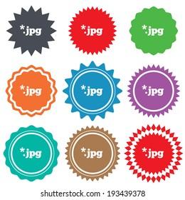 File JPG sign icon. Download image file symbol. Stars stickers. Certificate emblem labels. Vector