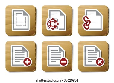 File manipulations icons. Vector icon set. Three color icons on cardboard tags.