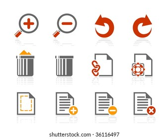 File manipulations icons. Vector icon set. Three color icons.