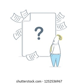 File not found, missing result, 502 or 404 error concept. Cartoon man do not understand what happened and looking at empty page with question mark. Isolated vector illustration on white.