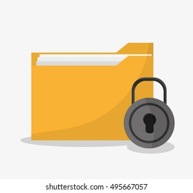 File padlock and document design