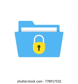 File protection. Data security and privacy concept. Safe confidential information. Vector illustration.