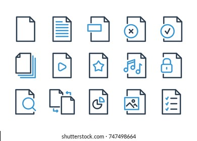 File related line icons. Vector set icons.