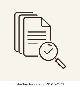 File search line icon. Magnifier glass, loupe, document, tick. Search concept. Can be used for topics like text, agreement, paperwork, expertise