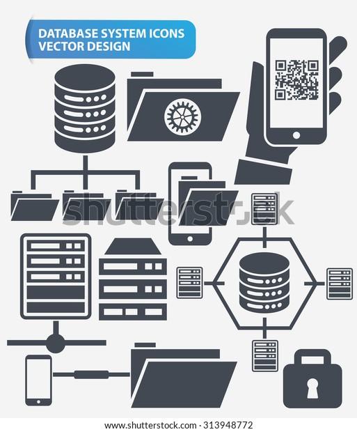 File Sharenetworking Database Server Icon Set Stock Vector