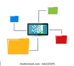 File sharing. Data Distribution. Content management. File transfer concept.