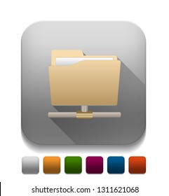 file sharing icon With long shadow over app button
