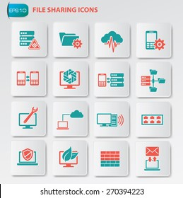 File sharing icon set on clean buttons