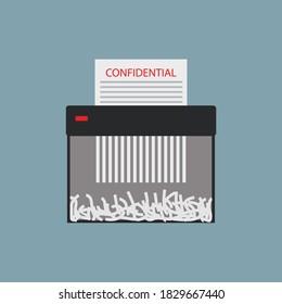 file shedder flat vector illustration, confidential paper in paper shedder