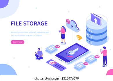 File storage concept. Can use for web banner, infographics, hero images. Flat isometric vector illustration.