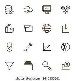 File storage icon set. Collection of high quality black outline logo for web site design and mobile apps. Vector illustration on a white background