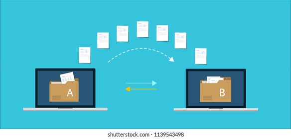 File transfer / Data Transfer Document, illustration transfer data/ copy file / sync   data / sharing file. illustration two laptop with folders on screen and transferred documents.