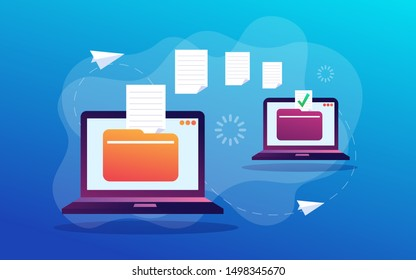 File Transfer. Files transferred Encrypted Form. Program for Remote Connection between two Computers. Full access to Remote Files and Folders.  Flat style. Vector illustration