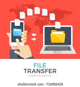 File transfer. Hand holding smartphone with folder on screen and documents transferred to laptop. Copy files, backup, file sharing concepts. Modern flat design graphic elements. Vector illustration