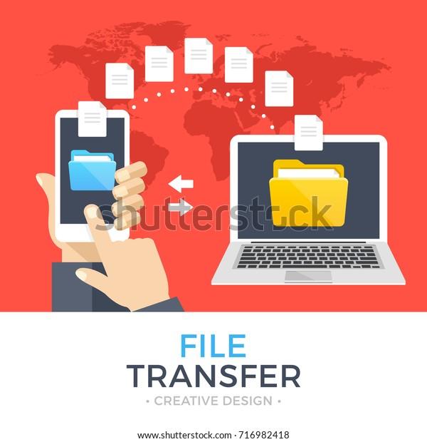 File Transfer Hand Holding Smartphone Folder Stock Vector