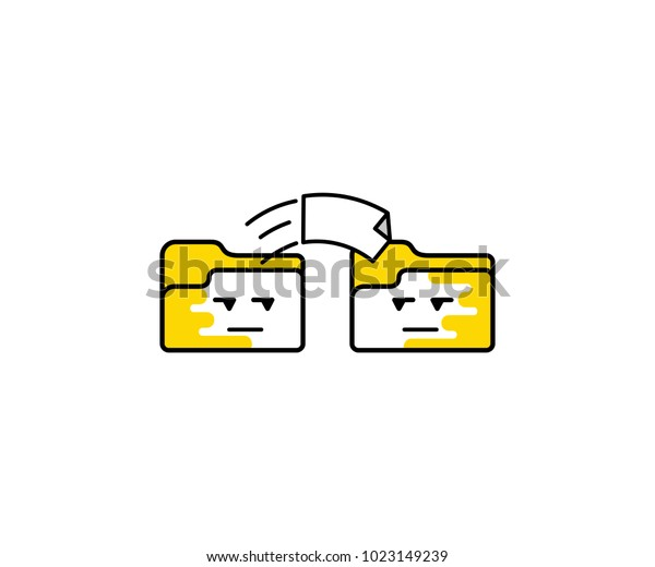 File Transfer One Folder Another Image Stock Vector (Royalty