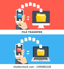 File transfer. Smartphone and computers and laptops copying information. Data exchange, file management, sharing, uploading, downloading, backup concept. Flat style design graphic. Vector illustration