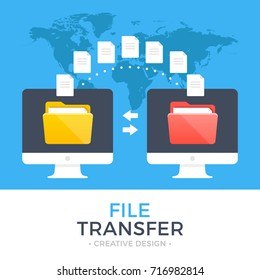 File transfer. Two computers with folders on screen and transferred documents. Copy files, data exchange, backup, PC migration, file sharing concepts. Flat design graphic elements. Vector illustration