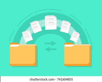 File transfer. Two folders transferred documents. Copy files, data exchange, backup, PC migration, sharing concepts. Flat design graphic elements. Vector illustration