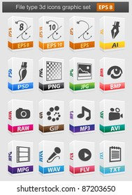 File type 3d icons set. Vector illustration