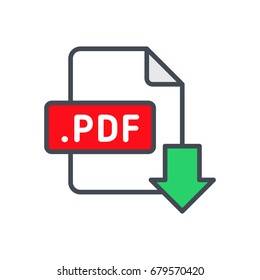 File type format download colored icon pdf