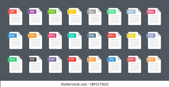 File type icons. Format and extension of documents. Set of pdf, doc, excel, png, jpg, psd, gif, csv, xls, ppt, html, txt and others. Icons for download on computer. Graphic templates for ui. Vector.
