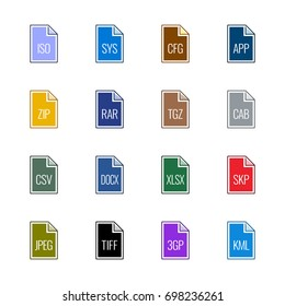 File type icons: Miscellaneous - Line UL Color