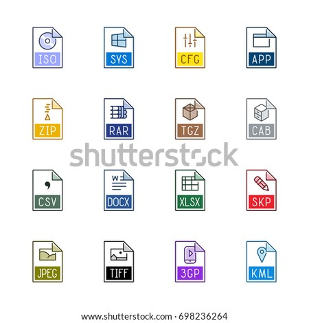 File type icons: Miscellaneous - Line Color