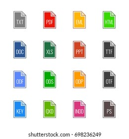 File type icons: Texts, fonts and page layout - Line UL Color