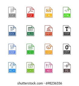 File type icons: Texts, fonts and page layout - Line Color