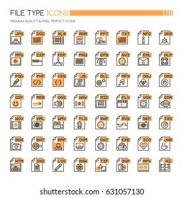 File Type Icons , Thin Line and Pixel Perfect Icons