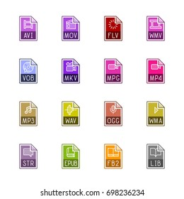 File type icons: Video, sound, and books - Linne Color