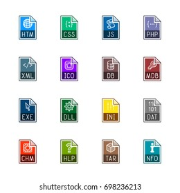 File type icons: Websites and applications - Line Color