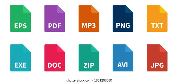 File types color icon set. Document format collection on white background. Vector illustration.