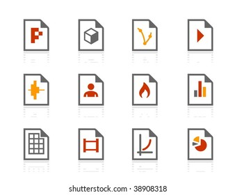 File types compact icons. Vector icon set. Three color icons.