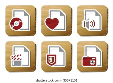 File types icons. Vector icon set. Three color icons on cardboard tags.
