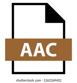 Filename extension icon AAC Advanced Audio Coding file format created in flat style. The sign depicts a white sheet of paper with a curved corner and a colored rectangle with the name of the file.