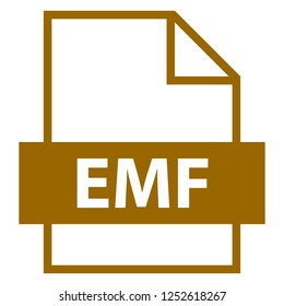 Filename extension icon EMF Enhanced MetaFile in flat style. Quick and easy recolorable shape. Vector illustration a graphic element.
