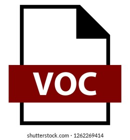 Filename extension icon VOC Creative Voice file format created in flat style. The sign depicts a white sheet of paper with a curved corner and a colored rectangle with the name of the file.