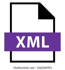 Filename extension icon XML eXtensible Markup Language file format created in flat style. The sign depicts a white sheet of paper with a curved corner and a colored rectangle with the name of the file