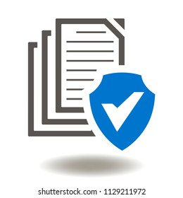 Files document with shield and check mark icon vector. Sheets of paper shield tick illustration. Information Safety, Data Protection, Cyber Security Logo Symbol.