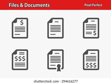 Files & Documents Icons. Professional, pixel perfect icons optimized for both large and small resolutions. EPS 8 format.