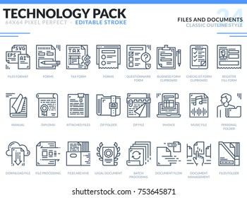 Files and Documents Icons Set. Editable Stroke. Technology outline icons pack. Pixel perfect thin line vector icons for web design and website application.