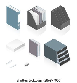 Files, folders, paper stack, storage boxes and a detailed isometric set vector graphic illustration