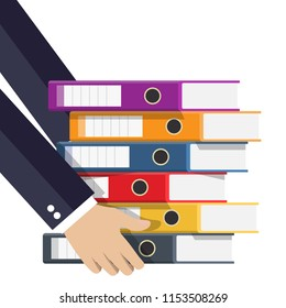 Files in hand, ring binders, colorful office folders. Side view. Bureaucracy, paperwork and office. Vector illustration in flat style