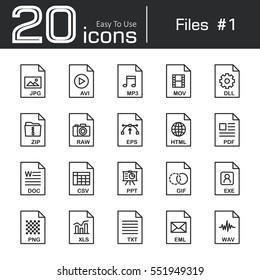 Files icon set 1 ( jpg . avi . mp3 . mov . dll . zip . raw . eps . html . pdf . doc . csv . ppt . gif . exe . png . xls . txt . eml . wav )